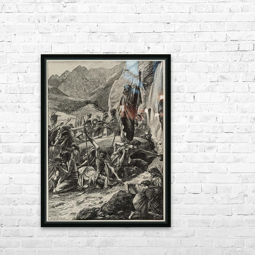 Moses strikes the rock HD Sublimation Metal print with Decorating Float Frame (BOX)