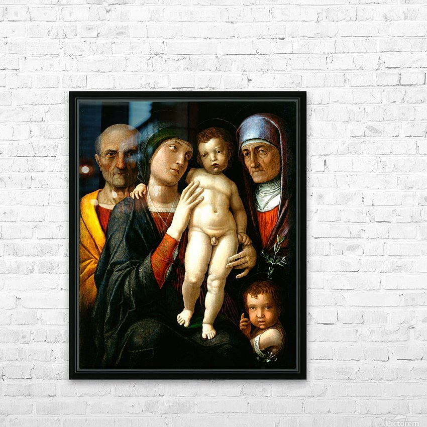 Holy Family with Saints Elizabeth and John the Baptist HD Sublimation Metal print with Decorating Float Frame (BOX)
