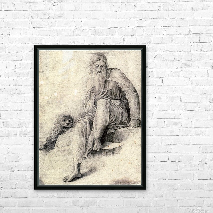 Saint Jerome Reading with the Lion HD Sublimation Metal print with Decorating Float Frame (BOX)