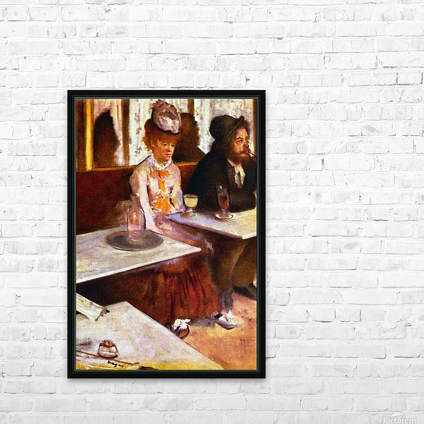 Absinthe Drinkers by Degas HD Sublimation Metal print with Decorating Float Frame (BOX)