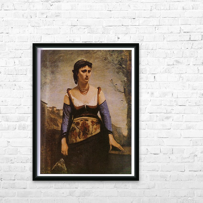 Agostina 1866 by Corot HD Sublimation Metal print with Decorating Float Frame (BOX)