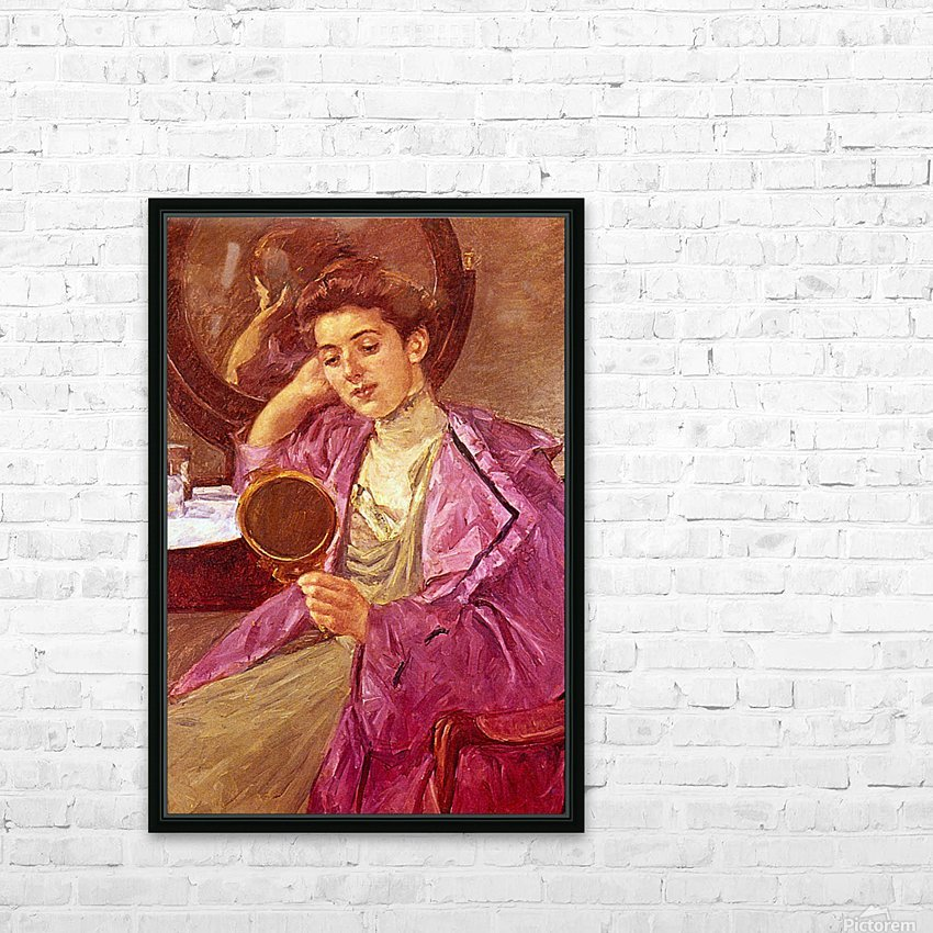 Antoinette at her Dresser by Cassatt HD Sublimation Metal print with Decorating Float Frame (BOX)