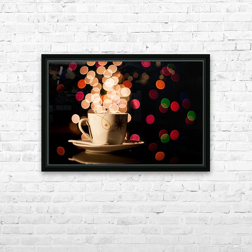 Christmas background with cup of tea HD Sublimation Metal print with Decorating Float Frame (BOX)