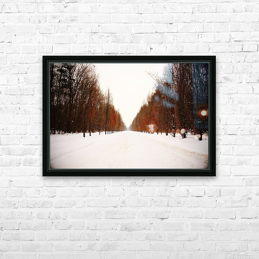 Snowy winter road HD Sublimation Metal print with Decorating Float Frame (BOX)