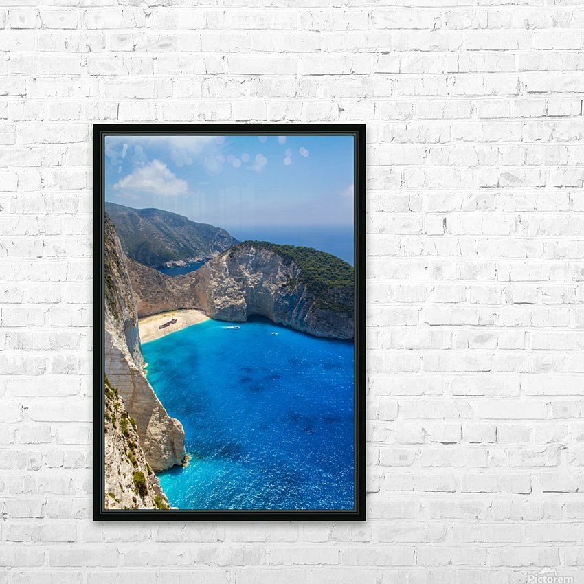 Navagio beach with shipwreck and flowers on Zakynthos island in Greece HD Sublimation Metal print with Decorating Float Frame (BOX)