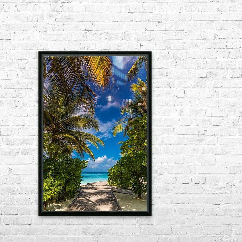 Palm trees low angle view HD Sublimation Metal print with Decorating Float Frame (BOX)