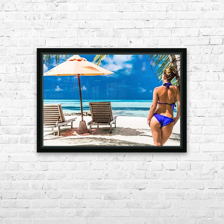woman in bikini under palm on sea background HD Sublimation Metal print with Decorating Float Frame (BOX)