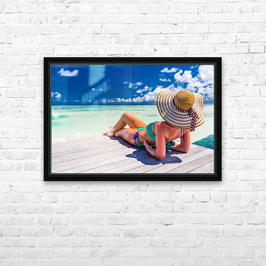 Woman in bikini lying on tropical beach at Maldives HD Sublimation Metal print with Decorating Float Frame (BOX)
