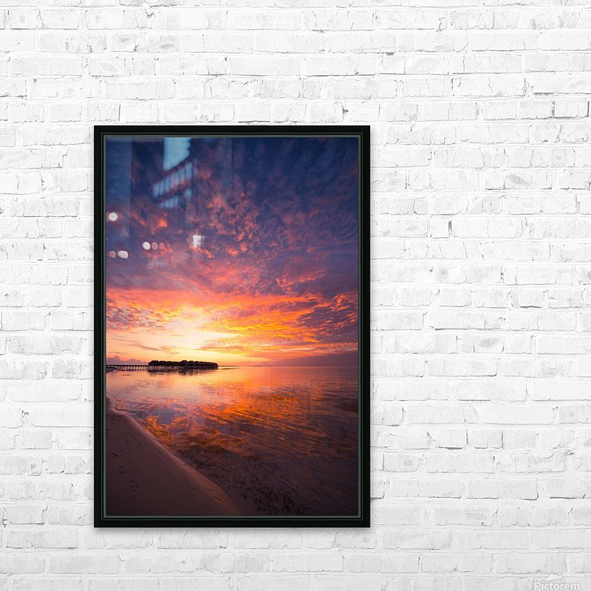 Beautiful tropical beach sunset HD Sublimation Metal print with Decorating Float Frame (BOX)