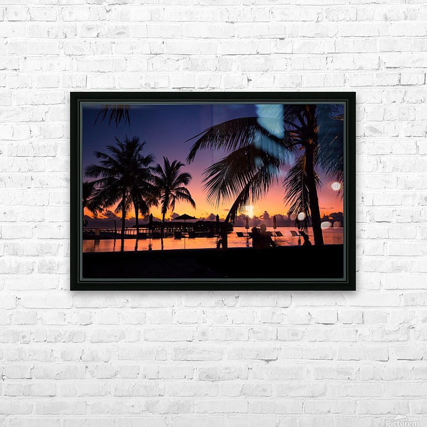 Silhouette coconut palm trees on beach at sunset. Vintage tone HD Sublimation Metal print with Decorating Float Frame (BOX)