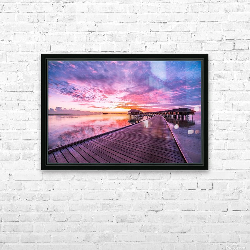 Amazing tropical sunset beach, luxury overwater bungalow HD Sublimation Metal print with Decorating Float Frame (BOX)