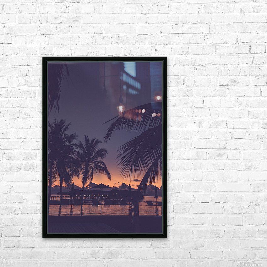 Palm trees silhouette on sunset tropical beach HD Sublimation Metal print with Decorating Float Frame (BOX)