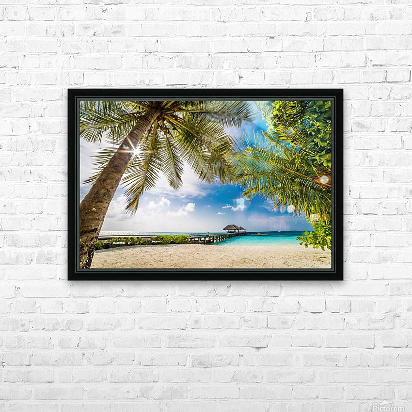 Palm and tropical beach HD Sublimation Metal print with Decorating Float Frame (BOX)