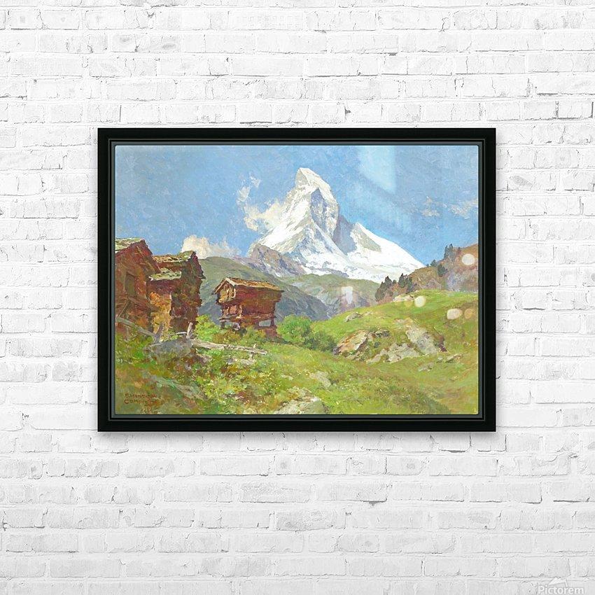Matterhorn seen from Winkelmatten HD Sublimation Metal print with Decorating Float Frame (BOX)