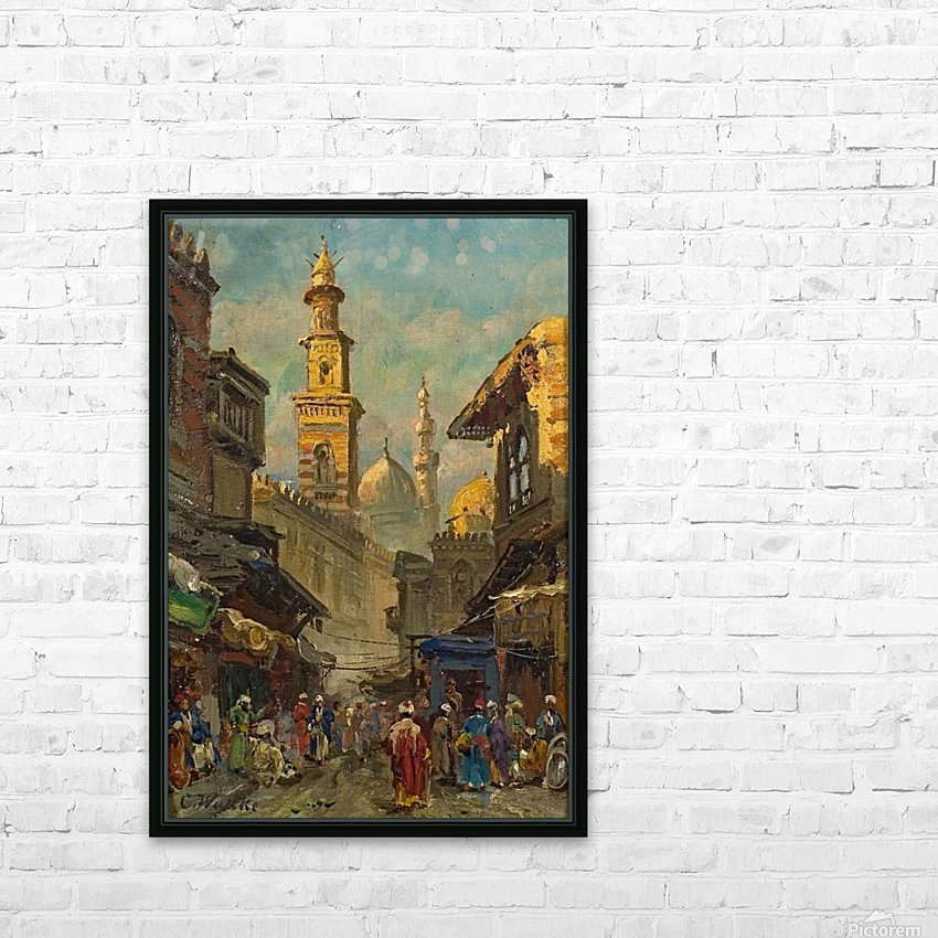 Oriental street scene HD Sublimation Metal print with Decorating Float Frame (BOX)