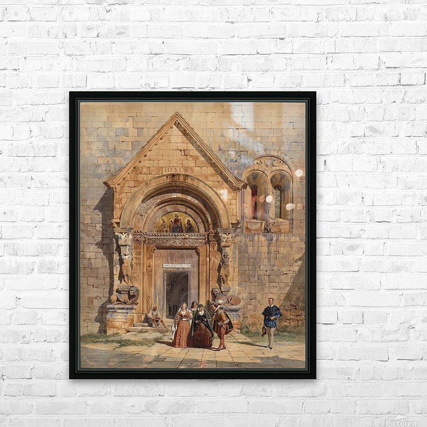 Kirchenportal und Personengruppe 1842 HD Sublimation Metal print with Decorating Float Frame (BOX)