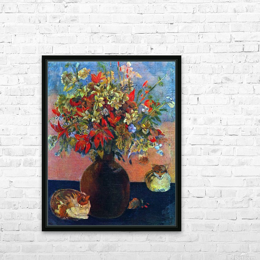Flowers and Cats by Gauguin HD Sublimation Metal print with Decorating Float Frame (BOX)