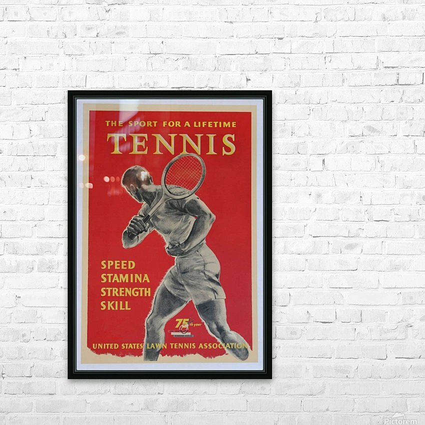 United States Lawn Vintage Tennis Poster in 1956 HD Sublimation Metal print with Decorating Float Frame (BOX)