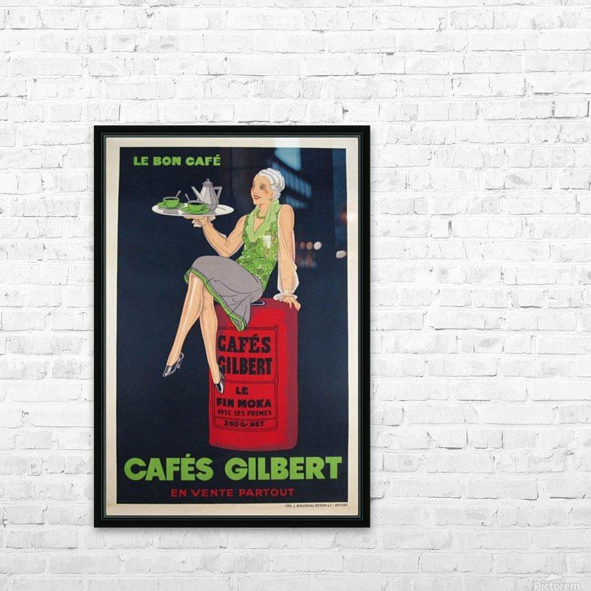 Cafes Gilbert original vintage food poster from France HD Sublimation Metal print with Decorating Float Frame (BOX)