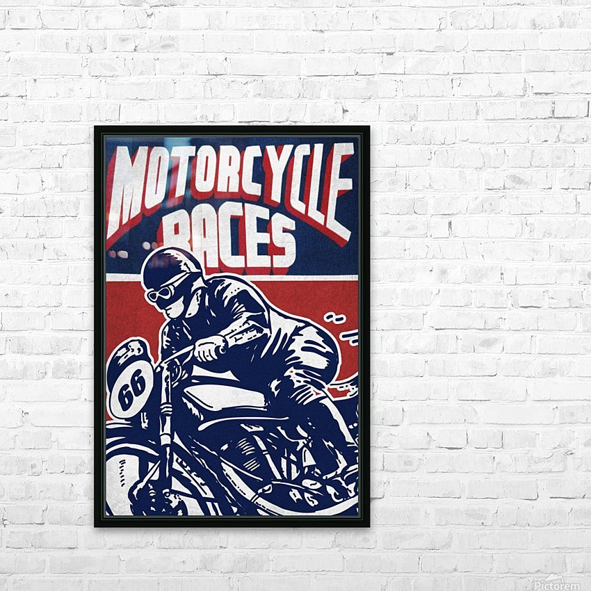 Motorcycle Racing Vintage Poster HD Sublimation Metal print with Decorating Float Frame (BOX)