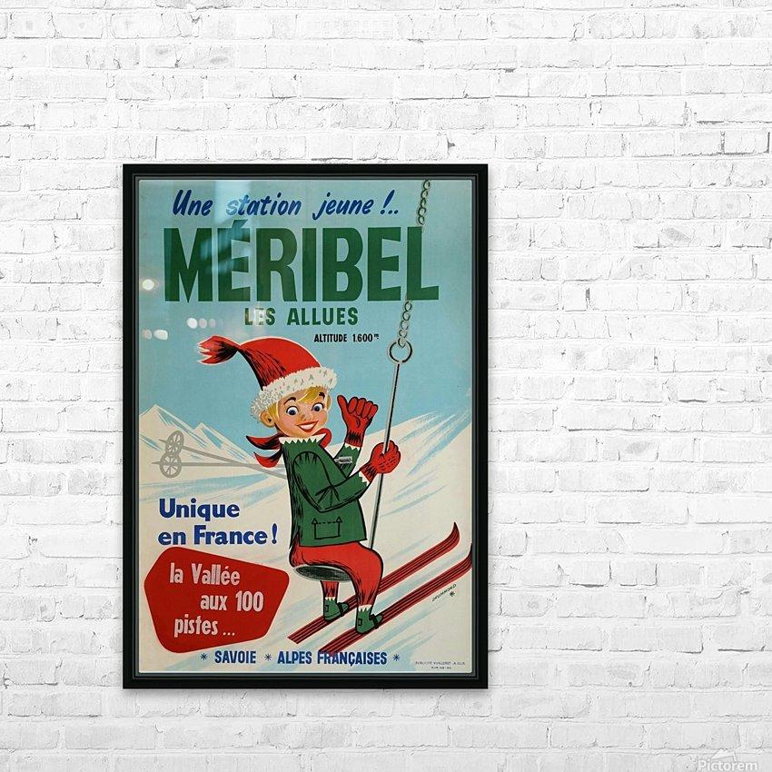 Original vintage poster ski winter sport Meribel HD Sublimation Metal print with Decorating Float Frame (BOX)