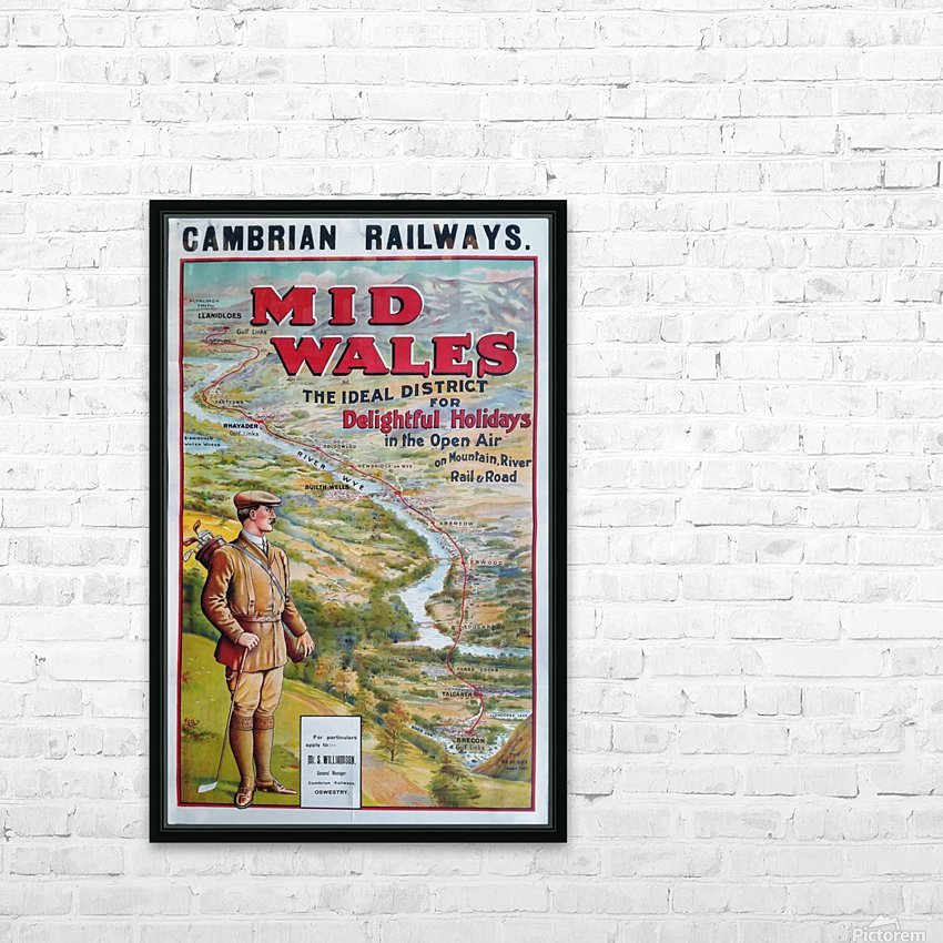 Original vintage poster golf Cambrian railways Mid Wales river HD Sublimation Metal print with Decorating Float Frame (BOX)
