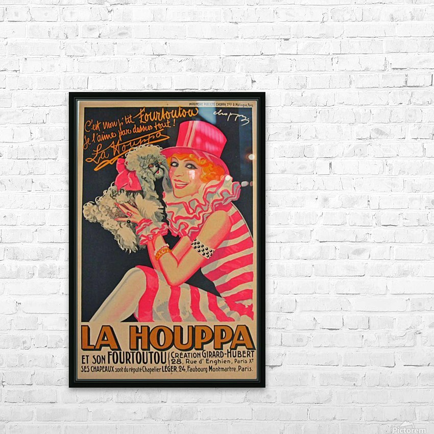 La Houppa Original Vintage advertisement lithograph poster HD Sublimation Metal print with Decorating Float Frame (BOX)