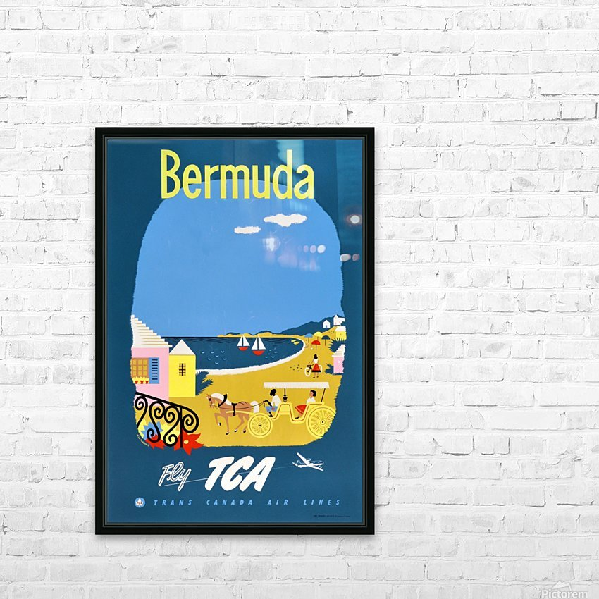 Bermuda Travel Poster for Fly Trans Canada Airline HD Sublimation Metal print with Decorating Float Frame (BOX)