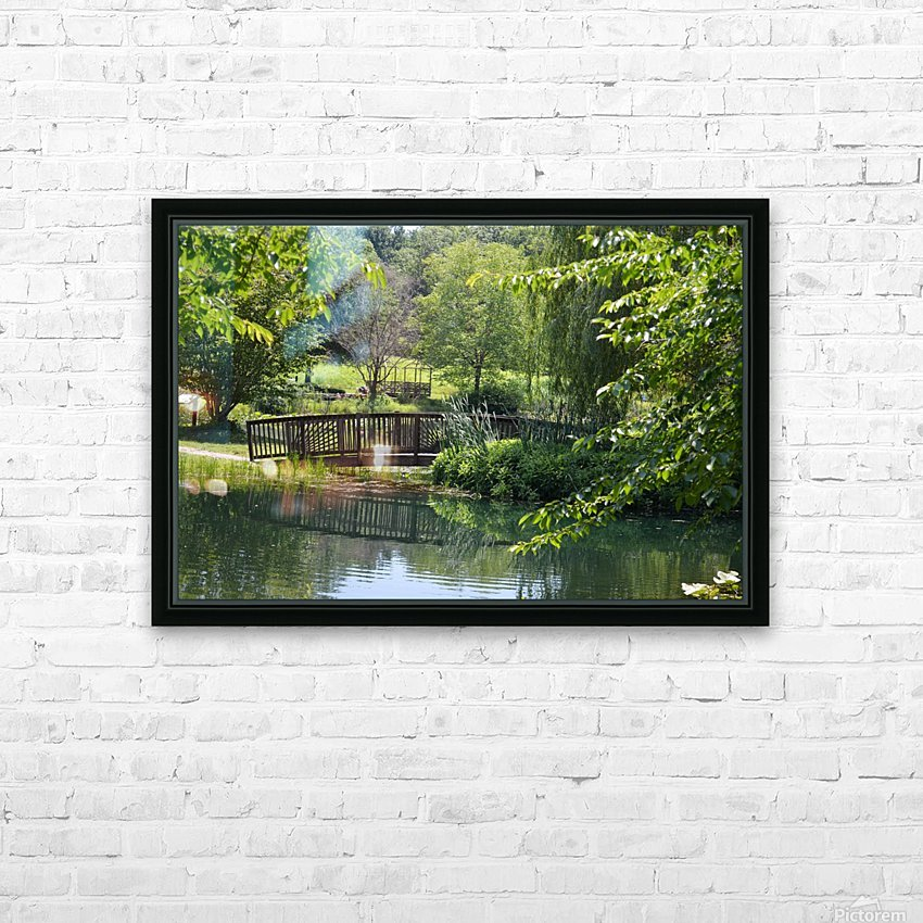 Bridge over pond HD Sublimation Metal print with Decorating Float Frame (BOX)