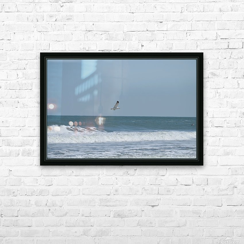 Seagull flying over waves HD Sublimation Metal print with Decorating Float Frame (BOX)
