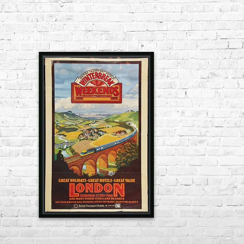 London vintage travel poster for British Railways HD Sublimation Metal print with Decorating Float Frame (BOX)