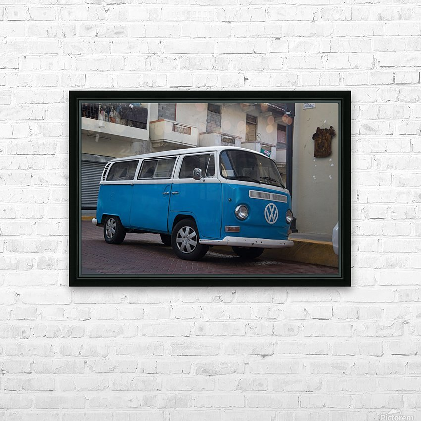 The blue VW van HD Sublimation Metal print with Decorating Float Frame (BOX)