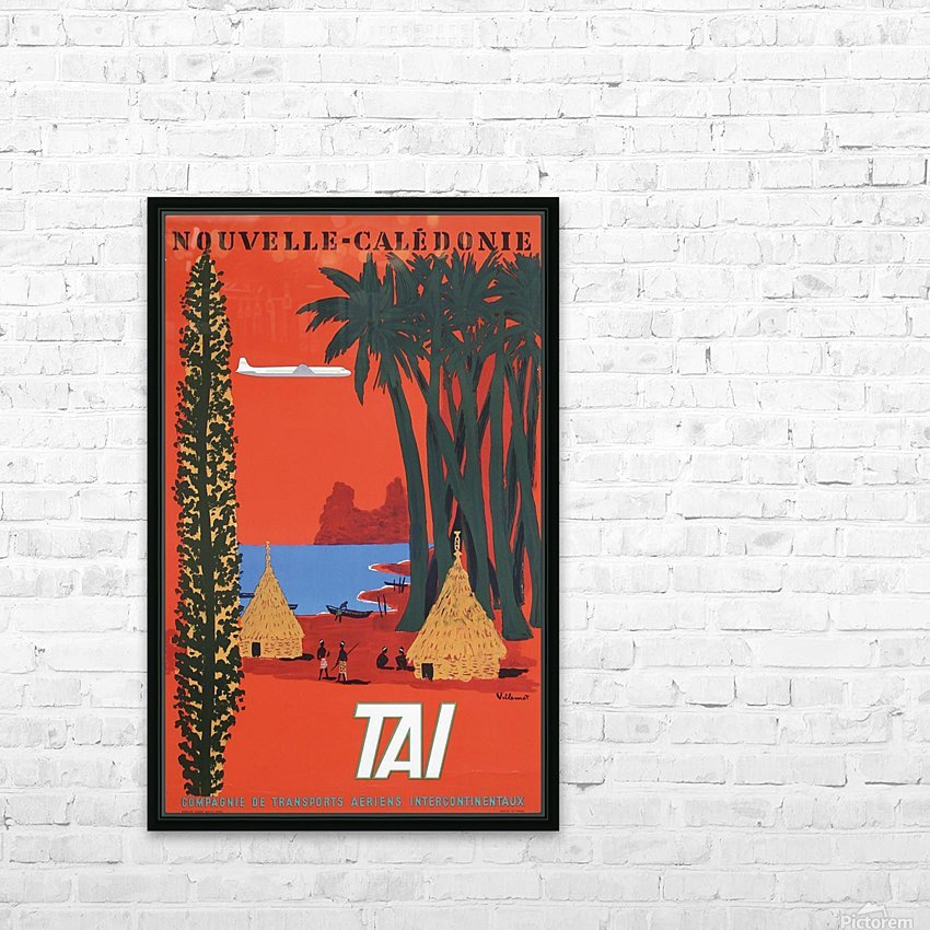 Nouvelle Caledonie TAI vintage travel poster HD Sublimation Metal print with Decorating Float Frame (BOX)