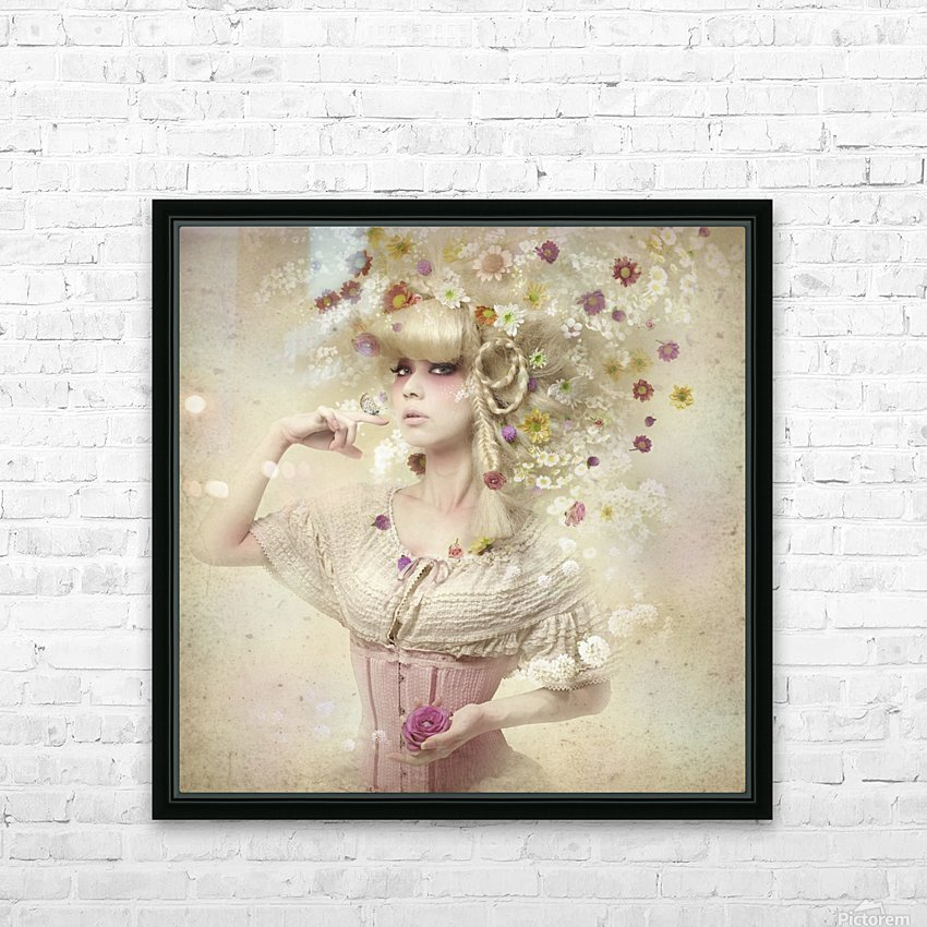 Girl of the flower garden HD Sublimation Metal print with Decorating Float Frame (BOX)