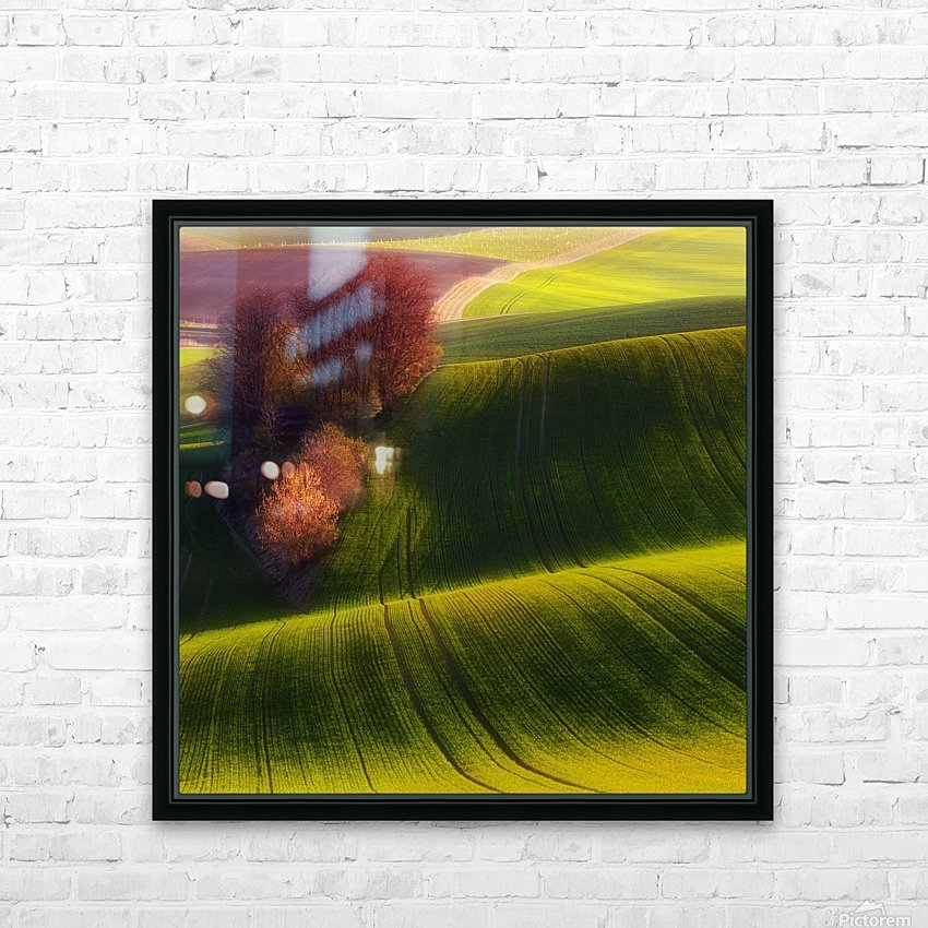 Green fields HD Sublimation Metal print with Decorating Float Frame (BOX)