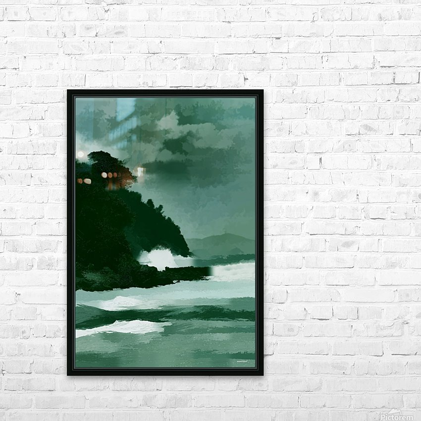 coast line storm oil effect tom prendergast HD Sublimation Metal print with Decorating Float Frame (BOX)