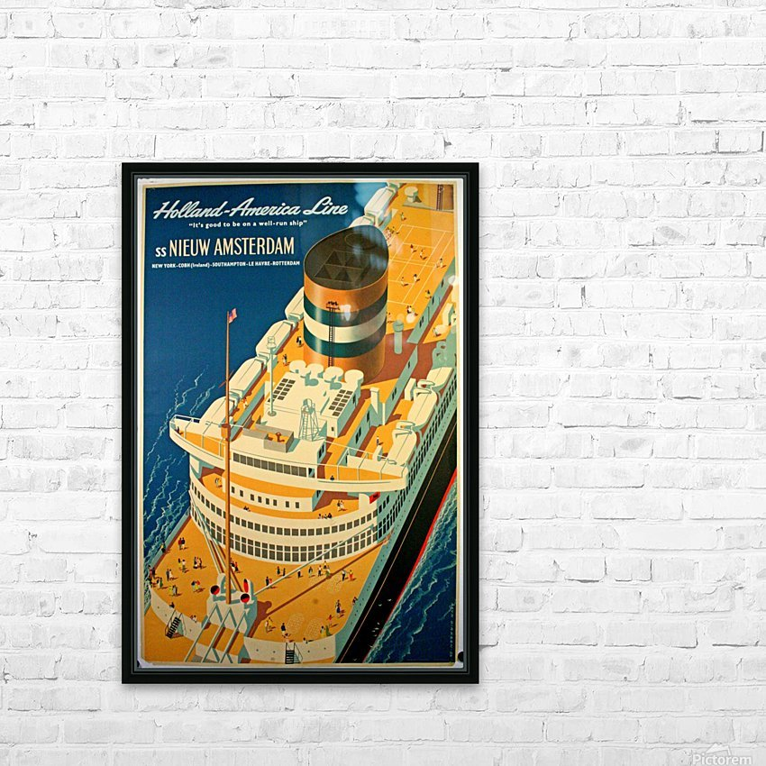 Holland - America Line vintage travel poster HD Sublimation Metal print with Decorating Float Frame (BOX)