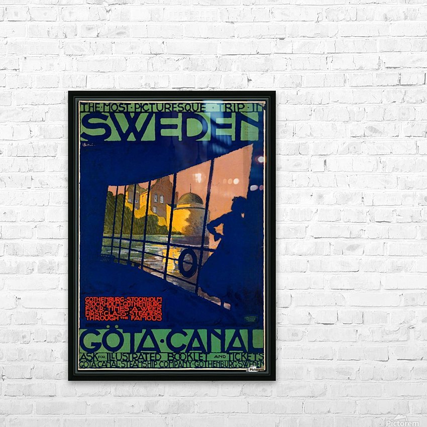 Sweden Gota Canal travel poster HD Sublimation Metal print with Decorating Float Frame (BOX)