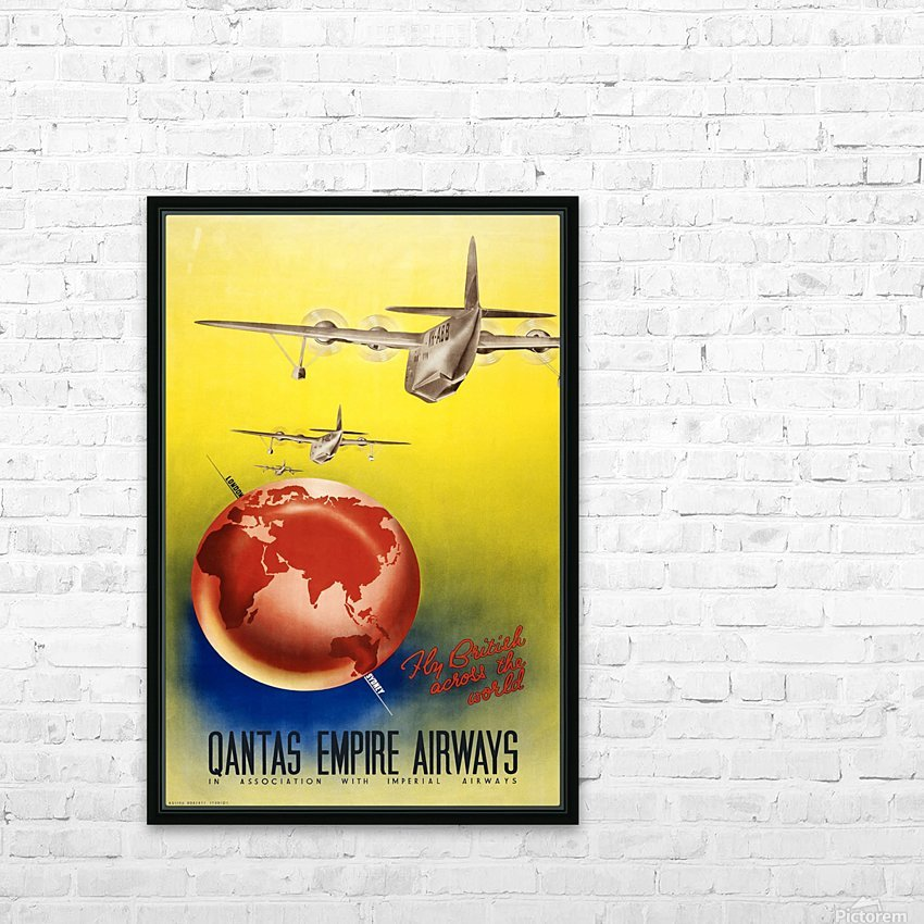 Qantas Empire Airways travel poster 1938 HD Sublimation Metal print with Decorating Float Frame (BOX)