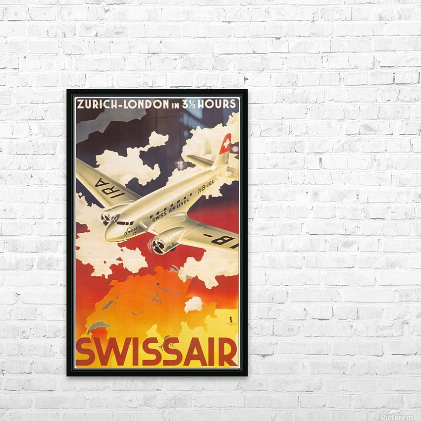 Zurich - London travel poster for Swissair HD Sublimation Metal print with Decorating Float Frame (BOX)