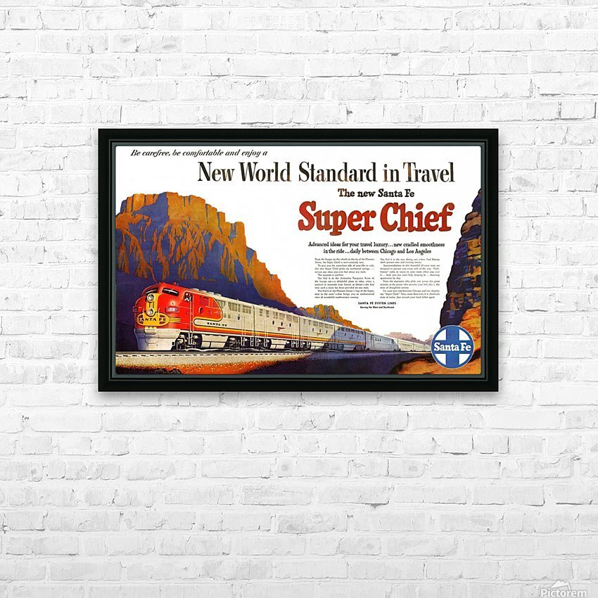 Santa Fe Vintage Railway poster HD Sublimation Metal print with Decorating Float Frame (BOX)