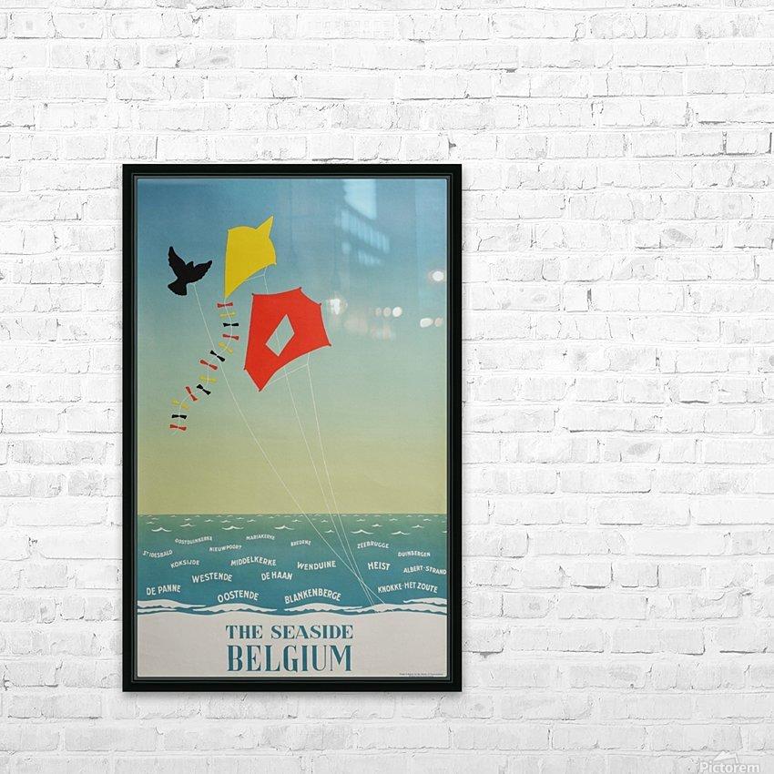 1950 Belgium seaside original travel vintage poster HD Sublimation Metal print with Decorating Float Frame (BOX)