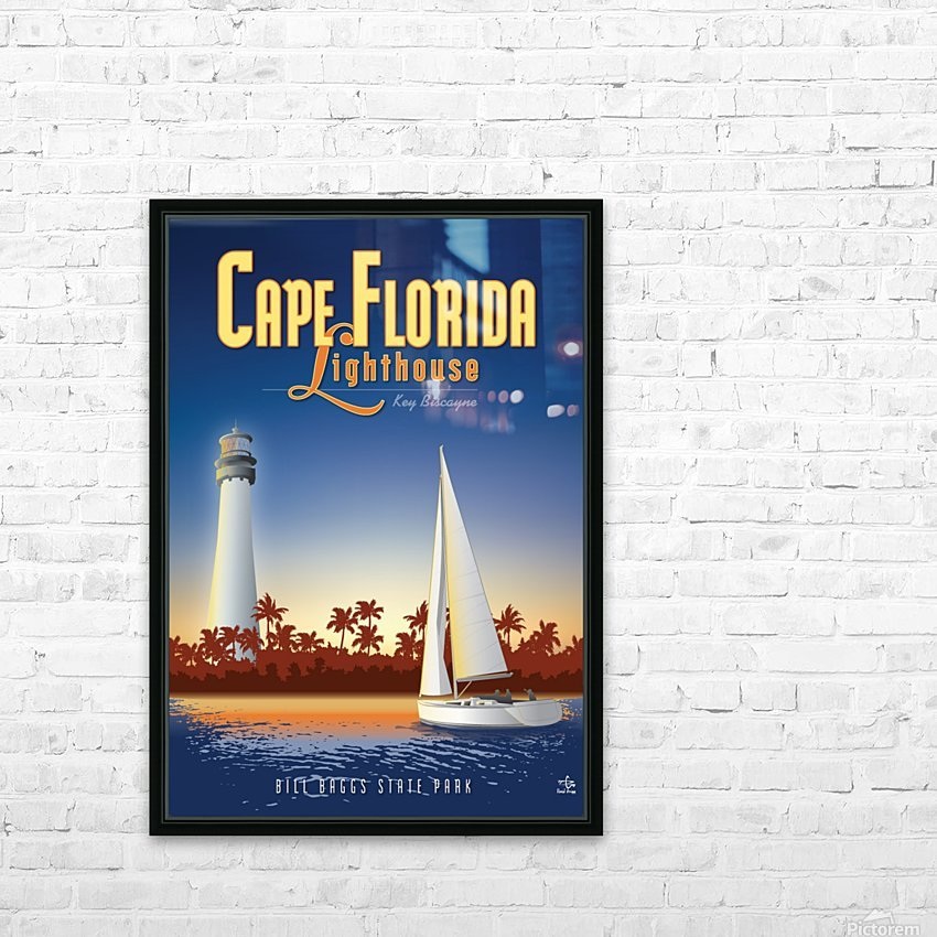 Cape Florida Lighthouse HD Sublimation Metal print with Decorating Float Frame (BOX)