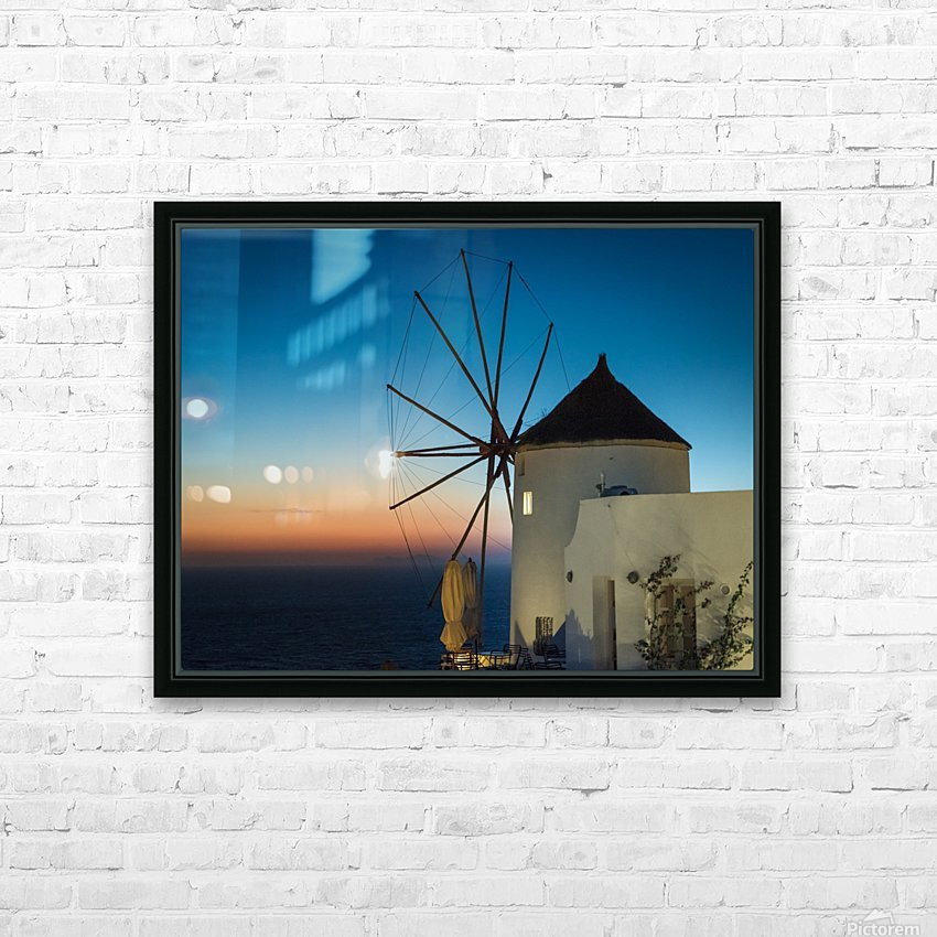Mills Oia Night HD Sublimation Metal print with Decorating Float Frame (BOX)