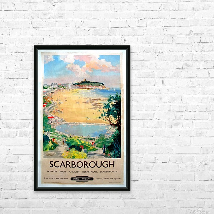 Original Railway Poster Scarborough HD Sublimation Metal print with Decorating Float Frame (BOX)
