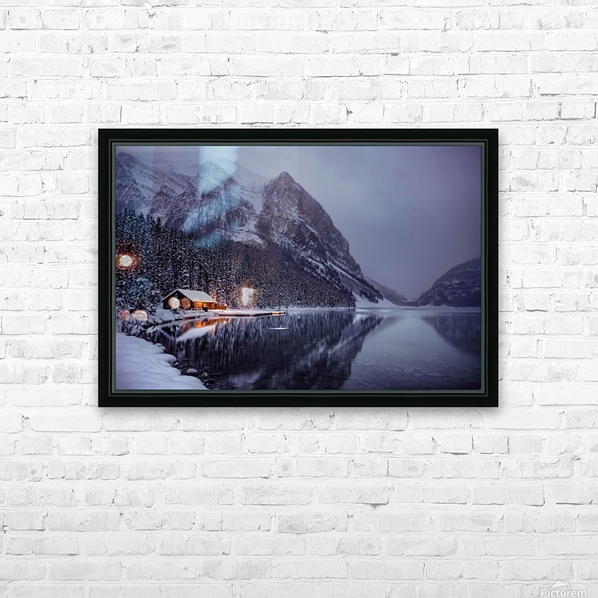 Winter Lake Louise  HD Sublimation Metal print with Decorating Float Frame (BOX)