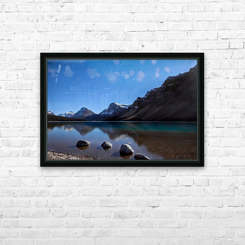 Bow lake under moonlight  HD Sublimation Metal print with Decorating Float Frame (BOX)