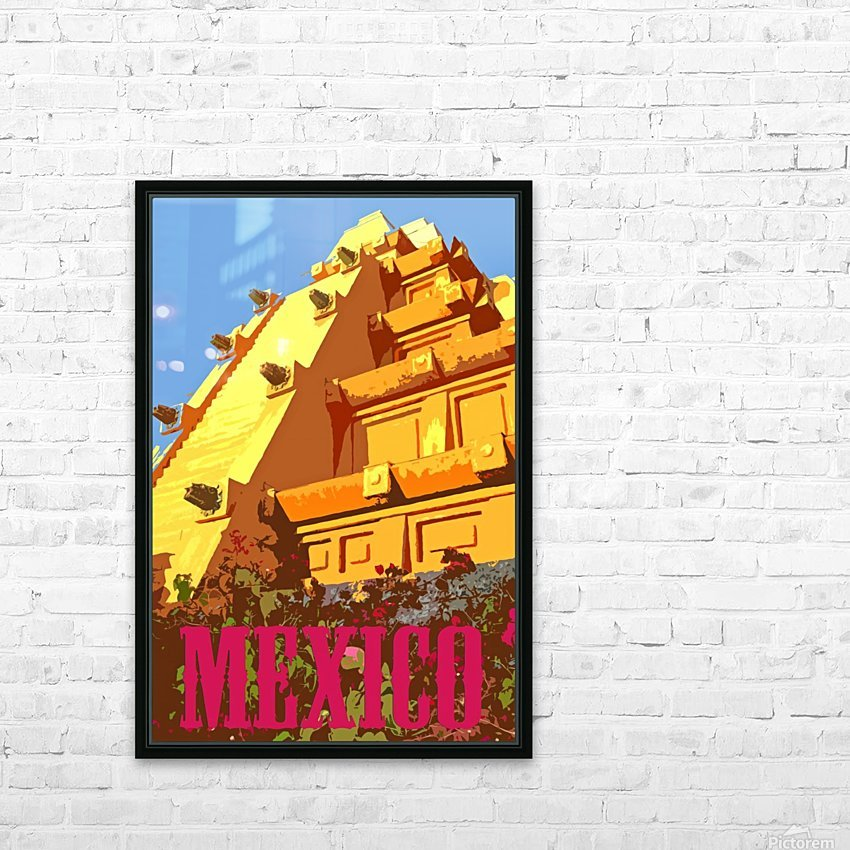 Mexico City vintage travel poster HD Sublimation Metal print with Decorating Float Frame (BOX)