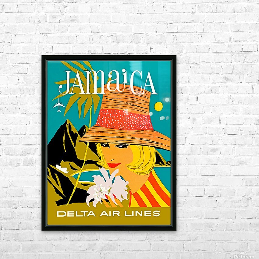 Vintage Jamaica Delta Airlines Poster HD Sublimation Metal print with Decorating Float Frame (BOX)