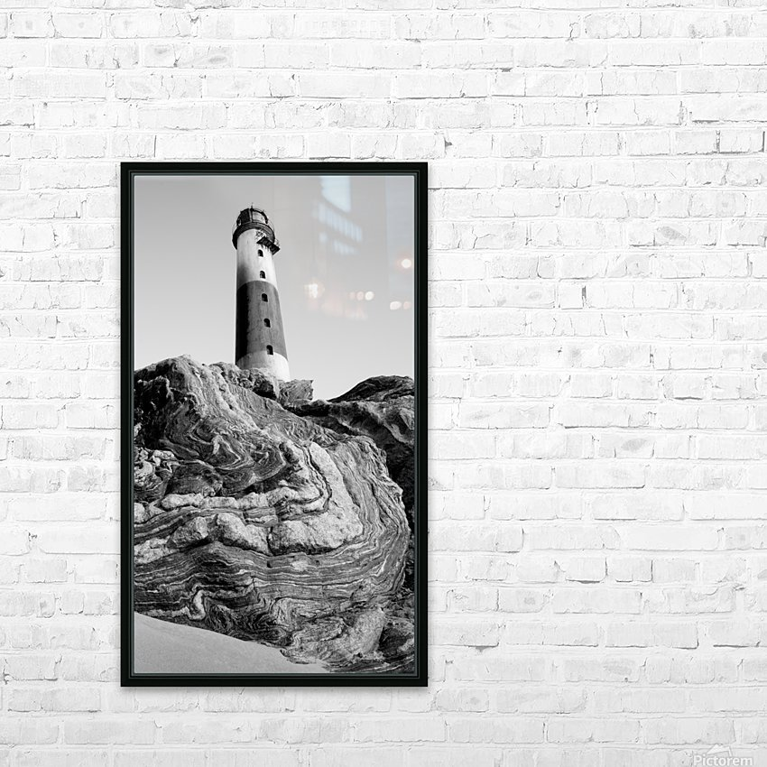 Lighthouse on Twisted Rock HD Sublimation Metal print with Decorating Float Frame (BOX)